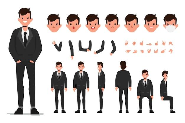 Personagem de empresário em um construtor de terno preto para diferentes poses conjunto de vários rostos masculinos