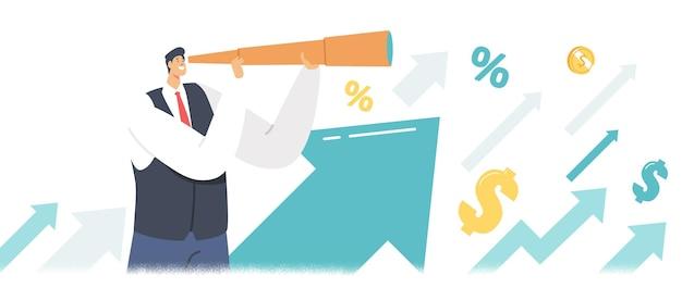 Personagem de empresário olhando para a luneta nas setas crescentes, procurando ideias financeiras de sucesso. previsão de previsão de visão de homem de negócios, estratégia de planejamento futuro. ilustração em vetor de desenho animado