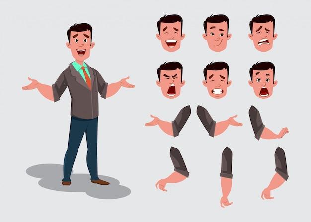 Personagem de empresário para animação ou movimento com diferentes emoções faciais e mãos.