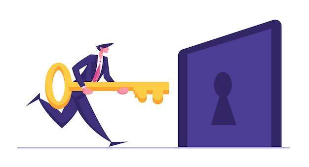 Personagem de empresário segurando uma grande chave e tentando destravar ilustração do buraco da fechadura