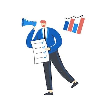 Personagem de empresário segurando uma lista de tarefas gritando no megafone no escritório, isolado no branco