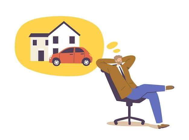Personagem de empresário sentado em pose relaxada na cadeira, sonhando com uma casa grande e um carro