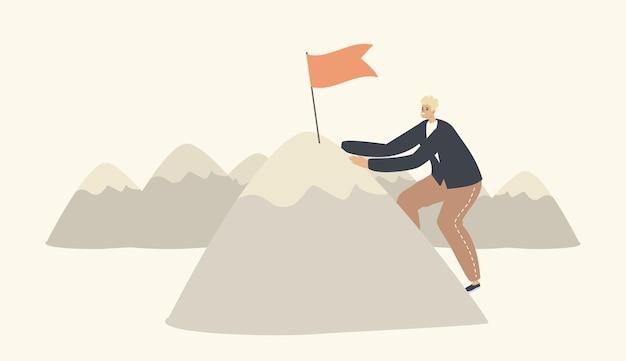 Personagem de empresário subindo em high rock com a bandeira no pico, superando obstáculos. homem de negócios visando o topo