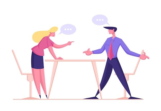 Personagem de empresário zangado discutindo e brigando