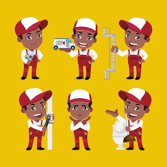 Personagem de encanador com diferentes poses