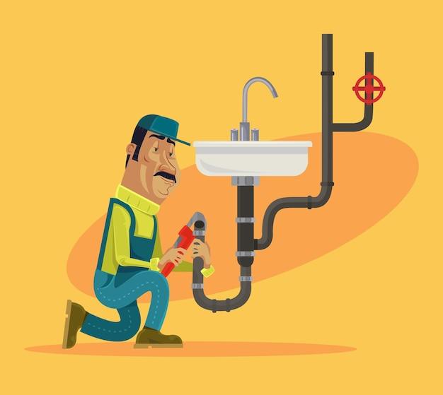 Personagem de encanador trabalhando e consertando o prumo