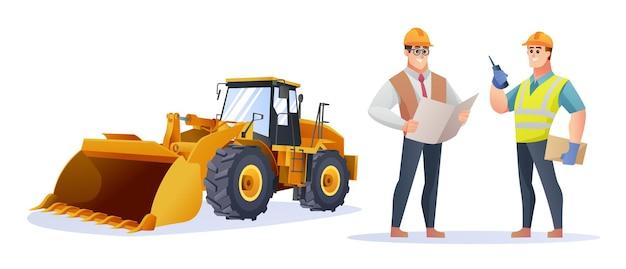 Personagem de engenheiro e capataz de construção com ilustração de carregadeira de rodas