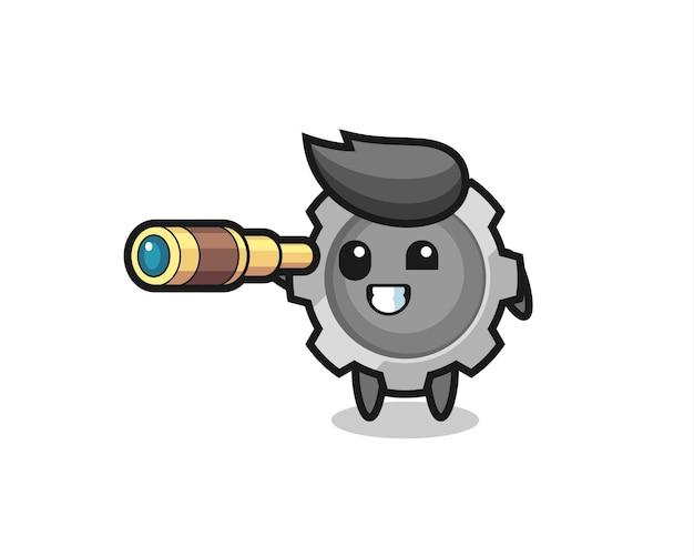 Personagem de engrenagem fofa está segurando um telescópio antigo, design de estilo fofo para camiseta, adesivo, elemento de logotipo