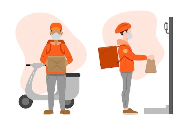 Personagem de entrega com máscara na motoneta