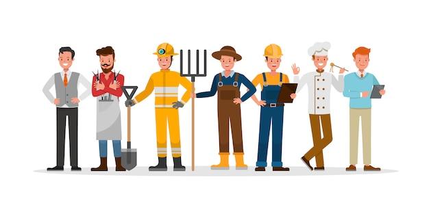 Personagem de equipe de carreira inclui agricultor, empresário, barbeiro, bombeiro, construtor e chef.