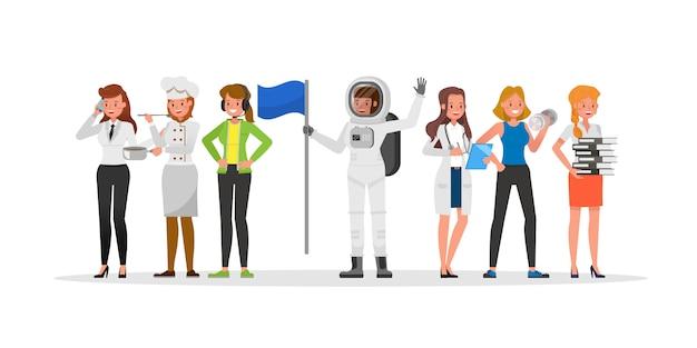 Personagem de equipe de carreira inclui zelador, empresário, jogador, instrutor de fitness, astronauta e médico.
