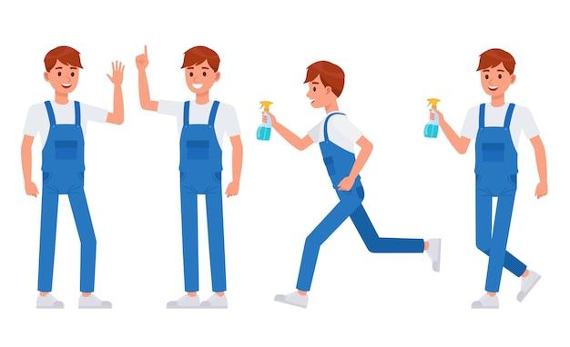 Personagem de equipe de limpeza