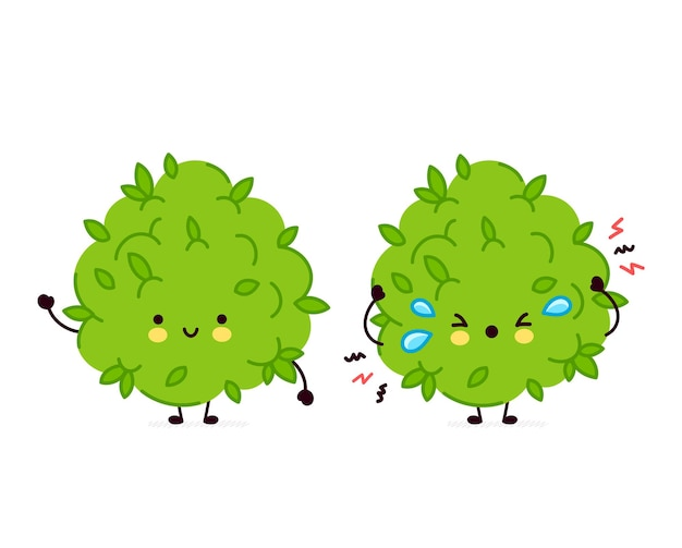 Personagem de erva daninha de maconha engraçado e triste bonito.