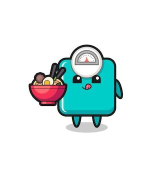 Personagem de escala de peso fofa comendo macarrão, design de estilo fofo para camiseta, adesivo, elemento de logotipo