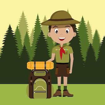 Personagem de escoteiro com design de ícone do saco de viagem isolado