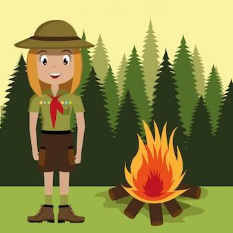 Personagem de escoteiro com fogueira isolado ícone do design
