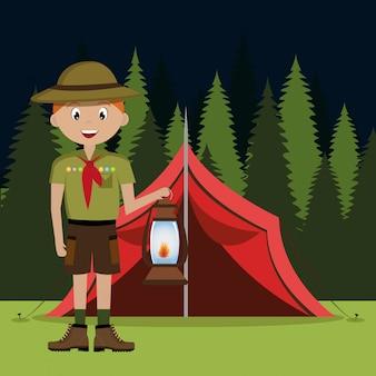 Personagem de escoteiro com lâmpada isolada ícone do design