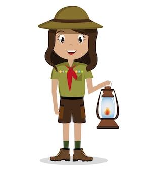 Personagem de escoteiro isolado ícone do design