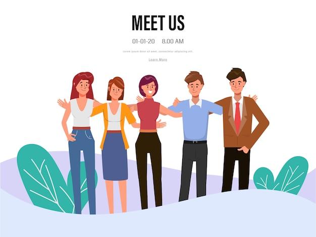 Personagem de escritório de trabalho em equipe de pessoas de negócios. reunião do seminário do colega.