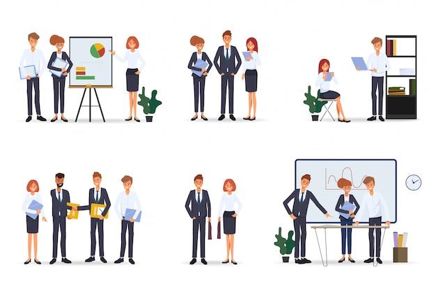 Personagem de escritório de trabalho em equipe de pessoas de negócios