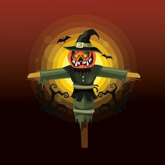 Personagem de espantalho de halloween