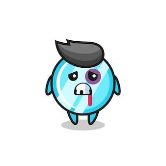 Personagem de espelho ferida com um rosto machucado, design de estilo fofo para camiseta, adesivo, elemento de logotipo
