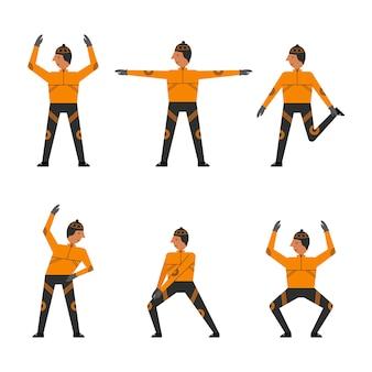 Personagem de esportista, fazendo exercícios de diferentes esportes.