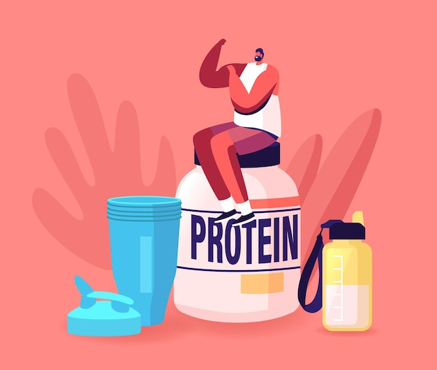 Personagem de esportista minúsculo demonstra músculos sentados em uma enorme jarra de coquetel de proteína e shaker na academia