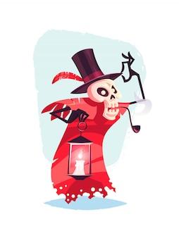 Personagem de esqueleto engraçada com lâmpada na mão cartoon ilustração de halloween