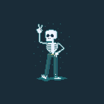 Personagem de esqueleto engraçado dos desenhos animados de pixel art.