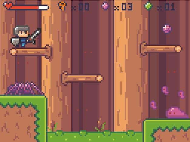 Personagem de estilo pixel art no jogo de arcade