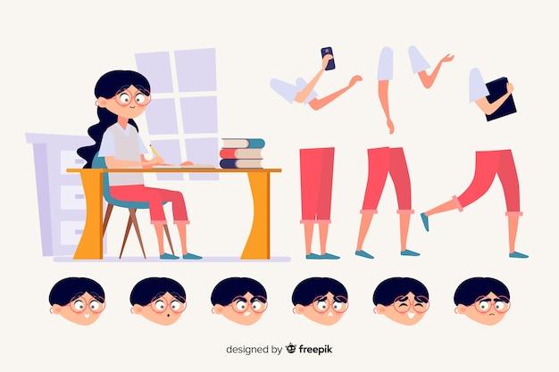 Personagem de estudante dos desenhos animados para design de movimento