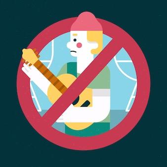 Personagem de eventos musicais cancelada com guitarra