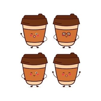 Personagem de expressão de café fofo engraçado personagem de mascote de desenho vetorial desenhada à mão