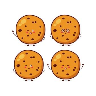 Personagem de expressão de cookies fofinhos engraçados personagem de mascote de desenho vetorial desenhada à mão