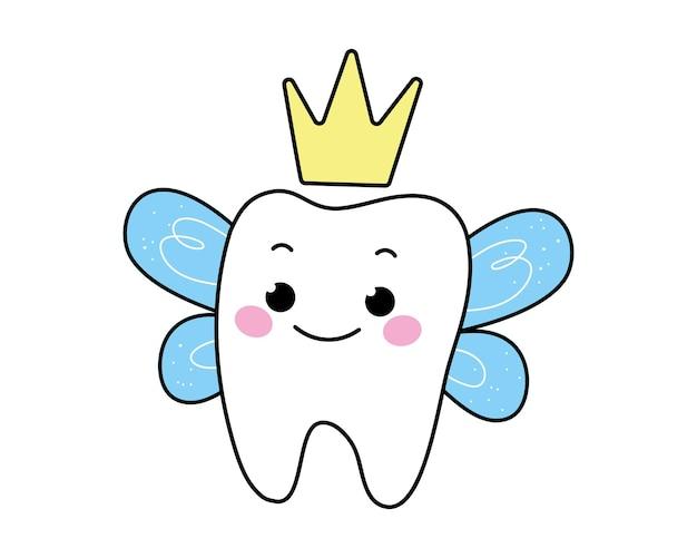 Personagem de fada dos dentes em uma coroa com asas vector ar em estilo cartoon clipart divertido isolado