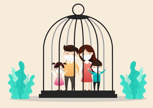 Personagem de família usando máscara médica trancada em uma gaiola