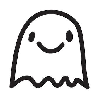 Personagem de fantasma doodle fofo. ilustração em vetor feliz halloween fantasma dos desenhos animados. impressão de convite de cartão de festa, impressão de camisa ou produto, design de adesivo