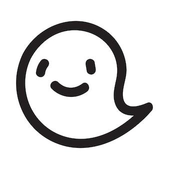 Personagem de fantasma doodle fofo. ilustração em vetor feliz halloween fantasma dos desenhos animados. impressão de convite de cartão de festa