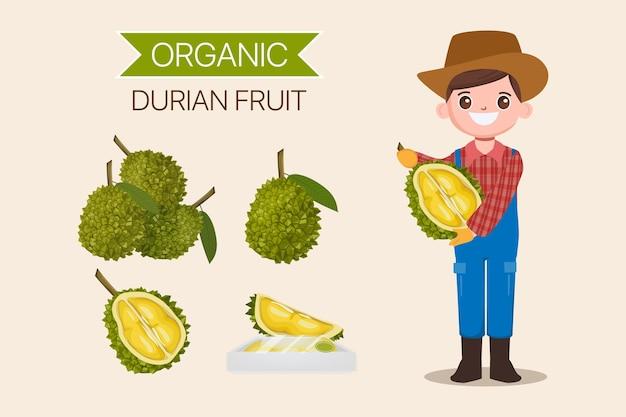 Personagem de fazendeiro com coleção de frutas durian