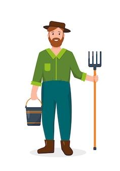 Personagem de fazendeiro com ferramentas de jardim isoladas no fundo branco. conceito de profissão.