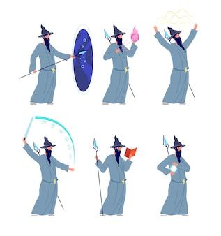 Personagem de feiticeiro mágico. magos dos desenhos animados, mistério do sexo masculino com barba. pessoa mágica medieval, ilustração isolada do vetor do velho homem misterioso. feiticeiro de fantasia mágica, feiticeiro e bruxaria