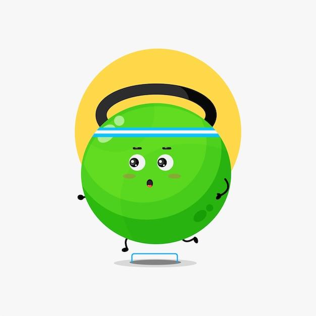 Personagem de fitness kettlebell engraçado em corrida