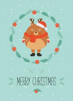 Personagem de floresta de natal bonito. feliz natal cartão com veado bonitinho em roupas de inverno