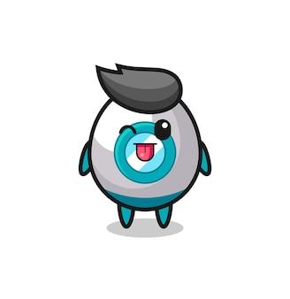 Personagem de foguete fofa com expressão doce enquanto mostra a língua, design de estilo fofo para camiseta, adesivo, elemento de logotipo