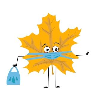 Personagem de folha de bordo com emoções tristes, rosto e máscara mantêm distância, mãos com sacola de compras e gesto de parada. planta florestal na cor amarela do outono