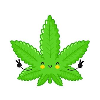 Personagem de folha de maconha erva daninha feliz engraçado bonito.
