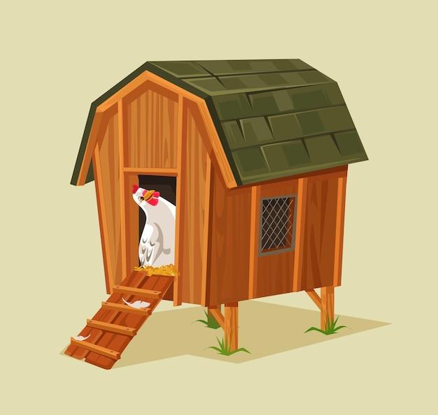 Personagem de frango feliz e sorridente olhando para o ninho, ilustração plana dos desenhos animados