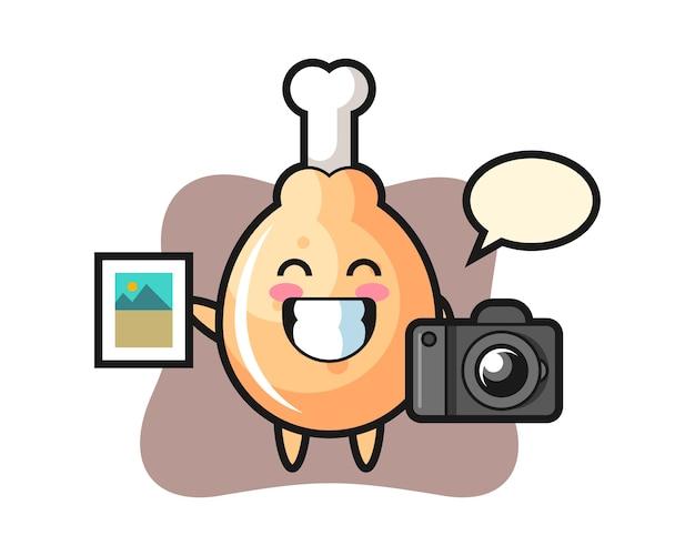 Personagem de frango frito como fotógrafo