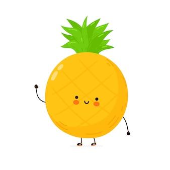 Personagem de fruta abacaxi engraçado bonito. mão desenhada cartoon kawaii personagem ilustração. isolado em um fundo branco. conceito de personagem de abacaxi